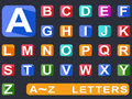Flat alphabet long shadow icons isolated on black ground Royalty Free Stock Image