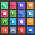 Flat application icons set vector office and business in design with long shadows Stock Image