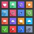 Flat application icons set vector web in design with long shadows Royalty Free Stock Photography