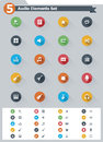 Flat audio icon set of the simple related icons Stock Images