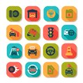 Flat auto icons Royalty Free Stock Photos