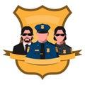 Flat avatar of police team