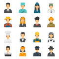Flat avatar profession set with stewardess labor worker police officer vector illustration Royalty Free Stock Photo