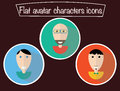 Flat avatars. Icon characters with eyes. Smiling guys. Happy portraits, cartoon