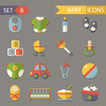Flat baby and childhood icons symbols set vector Stock Photo