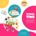 Flat Back To School Concept Royalty Free Stock Photo
