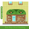 Flat background with flower shop street uilding and pot flowers and houseplants on showcase