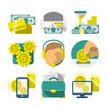 Flat banking icons set of the design modern for banks and commercial projects Stock Image