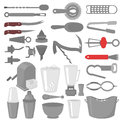 Flat Barman Mixing, Opening and Garnishing Tools. Bartender equipment Shaker, Opener, Mixing glasses. Ice Buckets, Bottle Pourers,