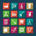 Flat bathroom icons Royalty Free Stock Photo