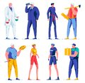 Flat Bike Riders, Delivery Man, Painter, Guard. Royalty Free Stock Photo