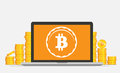 Flat bitcoin mining equipment. Golden coin with Bitcoin symbol in computer concept.