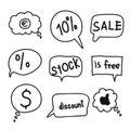 Flat black speech bubbles. hand drawn icons Royalty Free Stock Photo