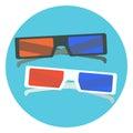 Flat black and white 3d cinema glasses. 3d cinema glasses with red and blue lens and black and white frames