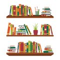 Flat book on bookshelves. Pile books on shelf with stationery and glasses for school room. Stack dictionary for education. Office Royalty Free Stock Photo