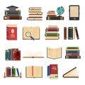 Flat book icons. Library books, open dictionary page and encyclopedia on stand. Pile of paper magazines, ebook globe and novel Royalty Free Stock Photo