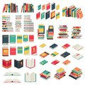 Flat books set. Book school library publishing dictionary textbook magazine open closed page studying vector collection Royalty Free Stock Photo