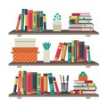 Flat bookshelves. Shelf book in room library, reading book office shelf wall interior study school bookcase vector Royalty Free Stock Photo
