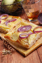 Flat bread with potatoes and onions Stock Photos
