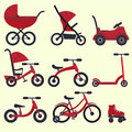 Flat bright red baby transport set for kids since birth till school
