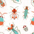 Flat Bugs and Beetles Colored Seamless Background Royalty Free Stock Photo
