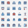 Flat building icons set