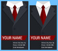 Flat business card template with black jacket vector illustration in eps Stock Photo