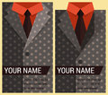 Flat business card template with gray jacket vector illustration in eps Stock Image