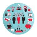 Flat business elements partnership money earning design success concept vector illustration Stock Photo