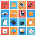 Flat business and office icons with long shadow seo website web mobile apps illustration Stock Photos