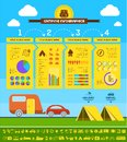 Flat camping infographic template elements plus icon set vector eps Stock Photos