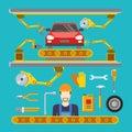 Flat car repair fix service line conveyor robot co
