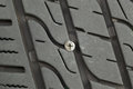 Flat car tire with wood screw imbedded in tread closeup horizontal photo of embedded into Royalty Free Stock Images