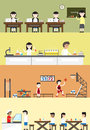 Flat cartoon student in school building interior and layout for