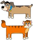 Flat cat and dog Royalty Free Stock Image