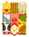 Flat childish rectangular cattle farm animals set design collection vector layered eps illustration Stock Image