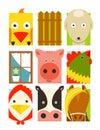 Flat childish rectangular cattle farm animals set design collection vector layered eps illustration Royalty Free Stock Images