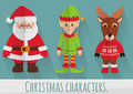 Flat Christmas characters: Santa, elf and reindeer. Vector set. Royalty Free Stock Photo