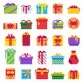 Flat Christmas Gifts. Winter holiday surprise present in gift box. Xmas presents isolated vector flat illustration set Royalty Free Stock Photo
