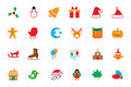 Flat christmas vector icons is one of the most joyful times of the year if you are designer this colored icon pack is perfect for Royalty Free Stock Photo
