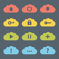 Flat clouds icon set vector illustration Royalty Free Stock Photo