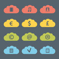 Flat clouds icon set vector illustration Stock Photos
