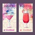 Flat cocktail design on Artistic decorative watercolor backgroun