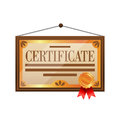 Flat color certificate icon on white background.