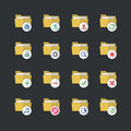 Flat color style Folder icons set 1 Royalty Free Stock Photo