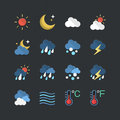 Flat color style Weather forecast icons set Royalty Free Stock Photo