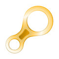 Flat color vector icon for yellow climbing descender device eight shape on white background.