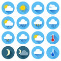 Flat color weather icons vector illustration of with long shadow Stock Image
