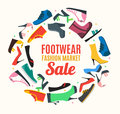 Flat Color Woman Shoes Banner Card. Vector