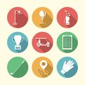 Flat colored icons for golf accessories Royalty Free Stock Photo